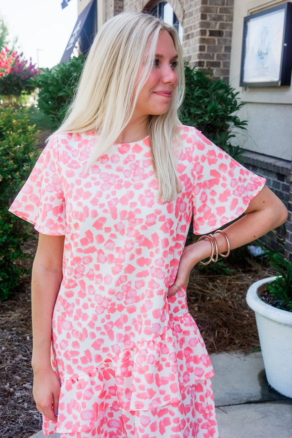 PINK LEOPARD RUFFLE HEM DRESS