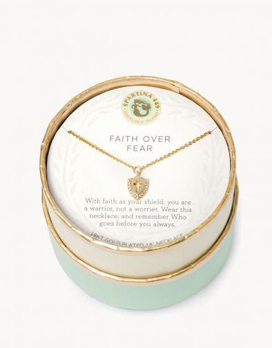 SLV NECKLACE 18' FAITH OVER FEAR/ CROSS SHIELD