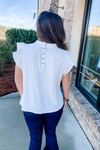 WHITE FLUTTER SLEEVE BUTTON BACK TOP