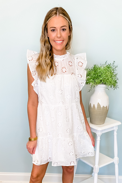 WHITE EYELET MOCK NECK DRESS