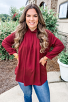 BURGUNDY MOCK NECK PLEATED TOP