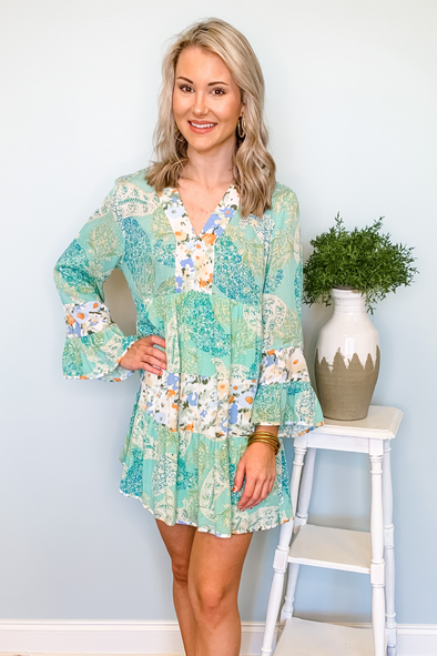 BLUE PAISLEY TIERED DRESS