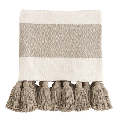 WOVEN TASSEL THROW - BEIGE