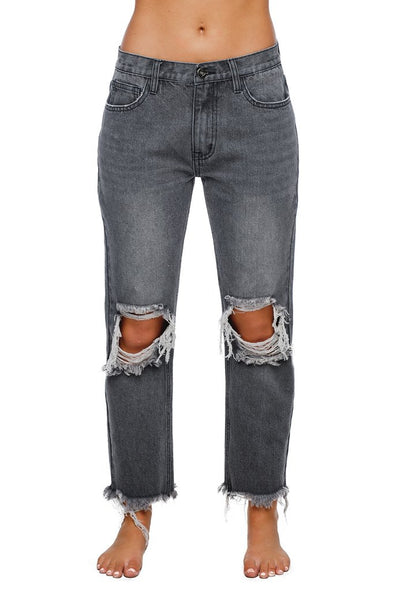 ROSCO DISTRESSED BOYFRIEND JEANS - GREY