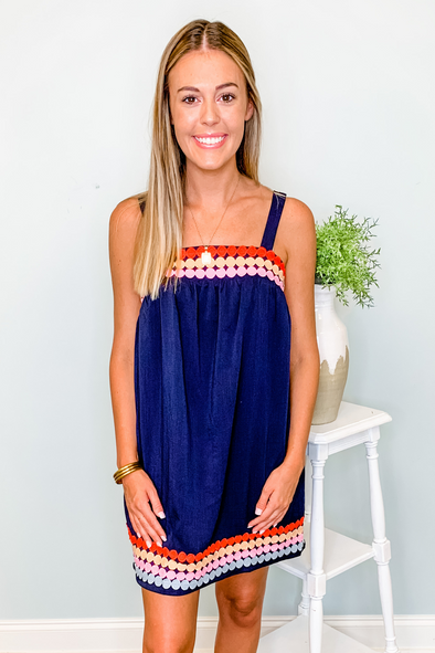 NAVY DOTTED TRIM SQUARE NECK DRESS