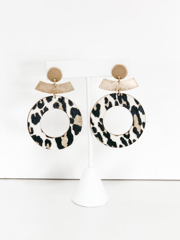 IVORY LEOPARD & GOLD CIRCLE EARRINGS