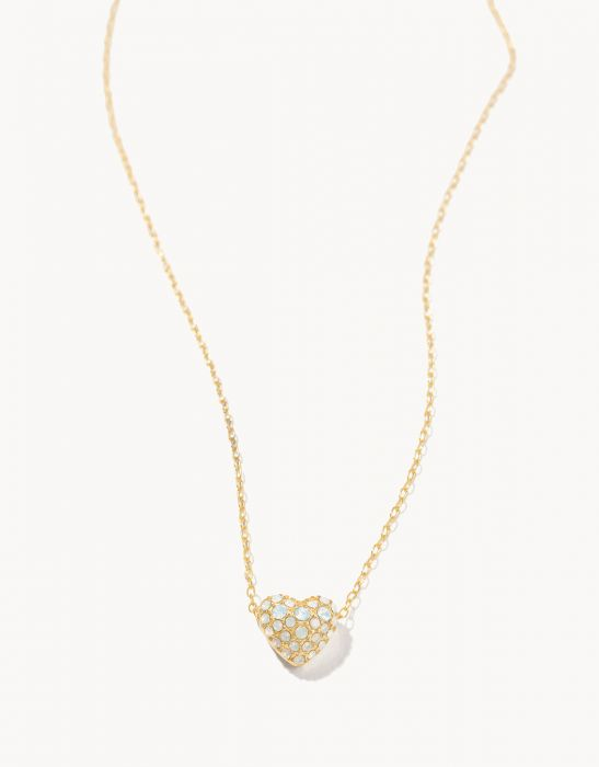 BURSTING HEART NECKLACE IN WHITE OPAL