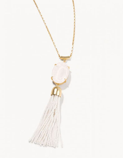 "WHITE 28"" MG OVAL TASSEL NECKLACE"