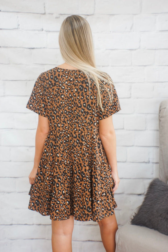 LEOPARD BABYDOLL DRESS