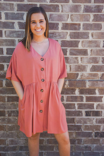 BUTTON DOWN BABYDOLL DRESS IN CANYON CLAY