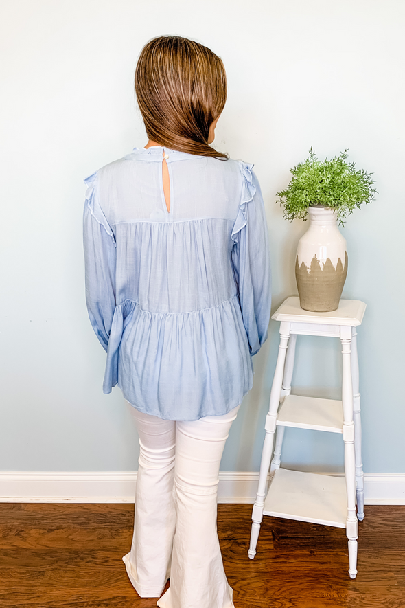 BLUE LONG SLEEVE TIERED RUFFLE TOP