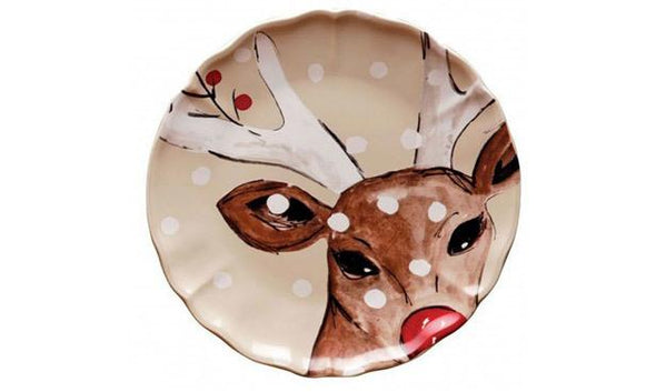 DEER FRIENDS FRONT VIEW DINNER PLATE - LINEN