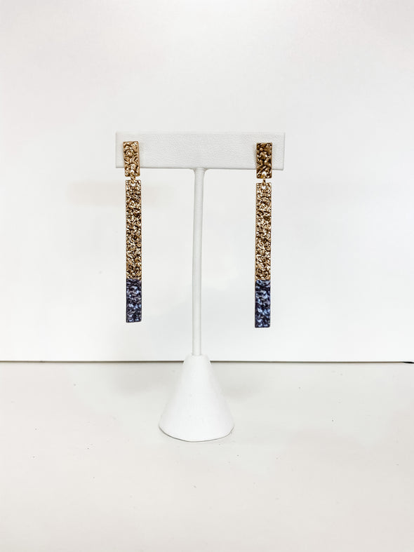 JET PAINTED HAMMERED BAR EARRINGS