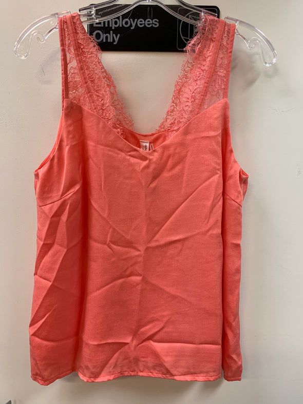 TOP SLEEVELESS LACE CORAL