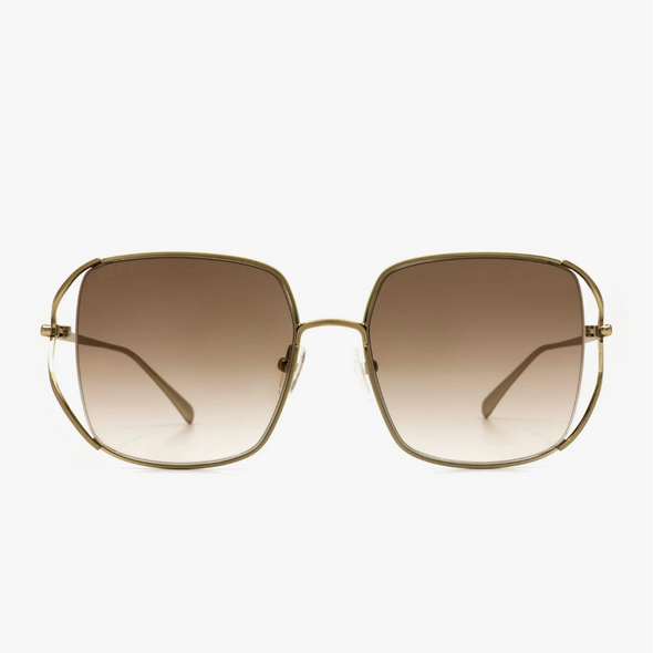 FRANKIE - NON POLARIZED BRUSHED GOLD + BROWN GRADIENT