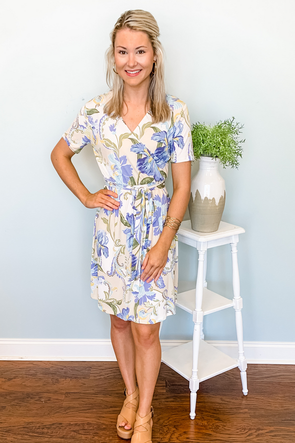TAUPE FLORAL BELTED WAIST DRESS