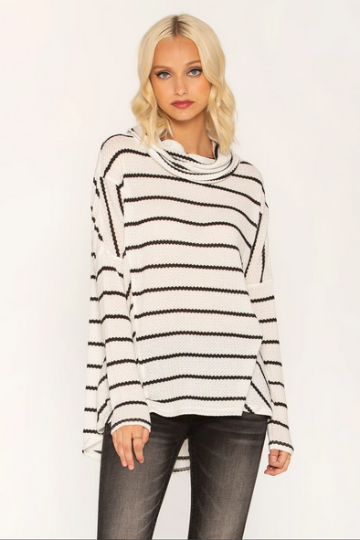 OFF BEAT COWL NECK SWEATER