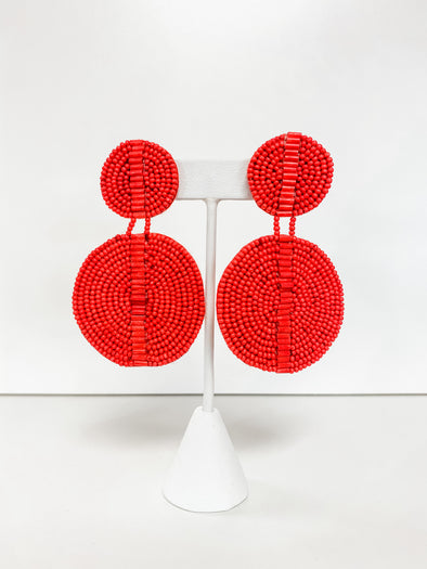 RED BUGLE & SEED BEAD DOUBLE DISK EARRING