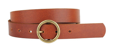 TAN COPPER-TONED CIRCLE BUCKLE BELT