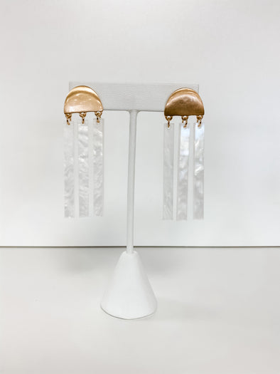 WHITE ACRYLIC BARS & GOLD WEDGE EARRING