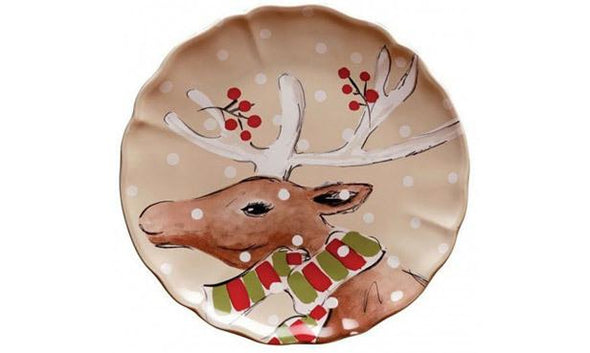 DEER FRIENDS SIDE VIEW DINNER PLATE - LINEN