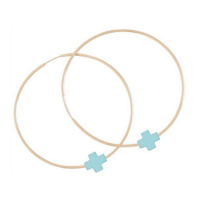 ENDLESS GOLD HOOP SIGNATURE CROSS, TURQUOISE