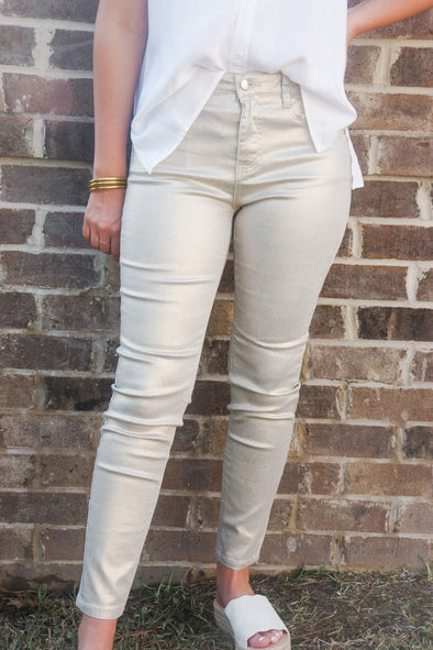 MOLLY BRACKEN GOLD SHIMMER PANT