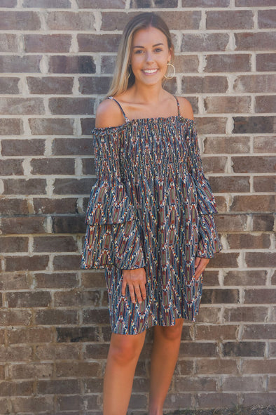 MOLLY BRACKEN ZIGZAG SMOCKED DRESS