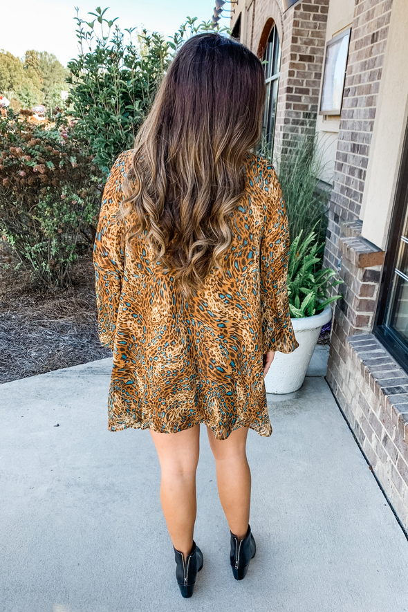 BROWN & TEAL LEOPARD TUNIC DRESS