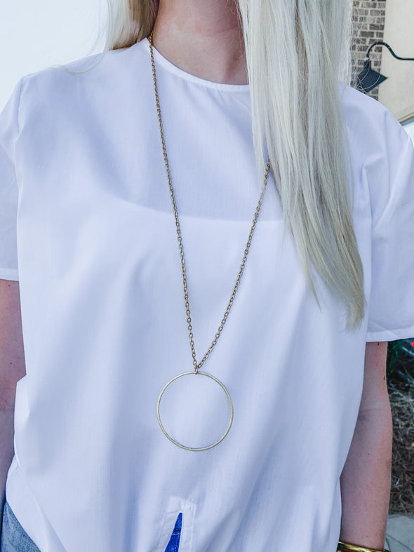 DBW NECKLACE, LONG GOLD CIRCLE