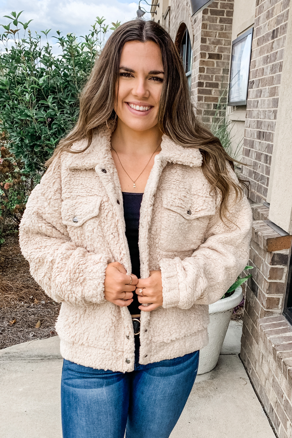 TAUPE SHERPA BUTTON DOWN JACKET