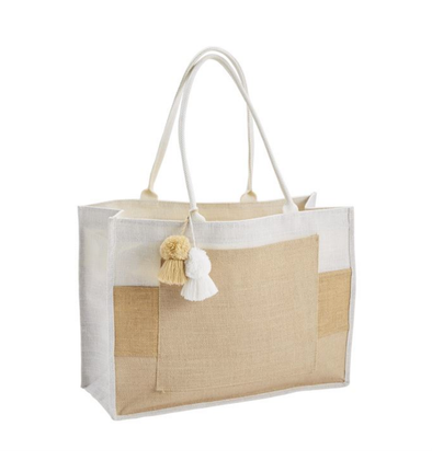 TAN COLOR BLOCK JUTE TOTE
