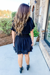 BLACK FLUTTER SLEEVE SMOCKED DRESS