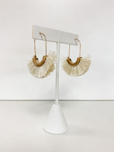 IVORY FAN TASSEL LONG HOOPS