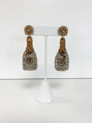 SILVER BEADED CHAMPAGNE BOTTLE EARRING