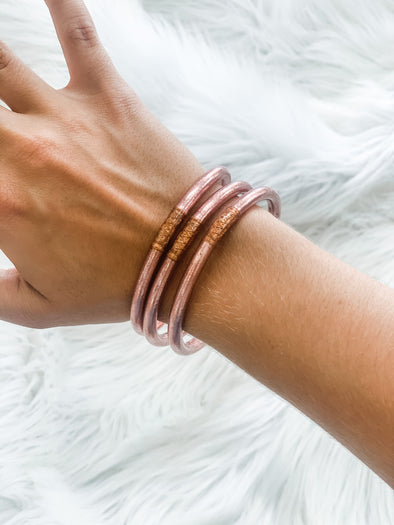 BUDHAGIRL ALL WEATHER BANGLES ROSE GOLD S/3