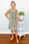 SAGE CROCHET LACE TRIMMED DRESS