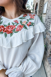 CREAM FLORAL EMBROIDERED RUFFLE TOP