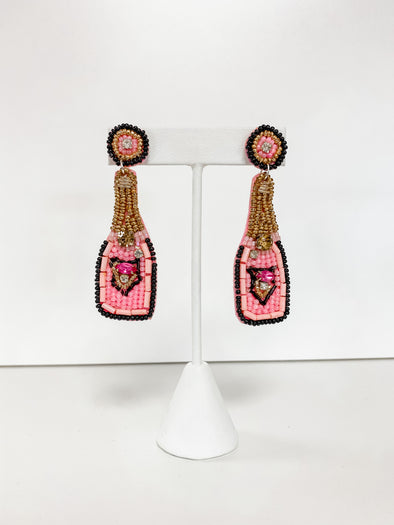 PINK BEADED CHAMPAGNE BOTTLE EARRING