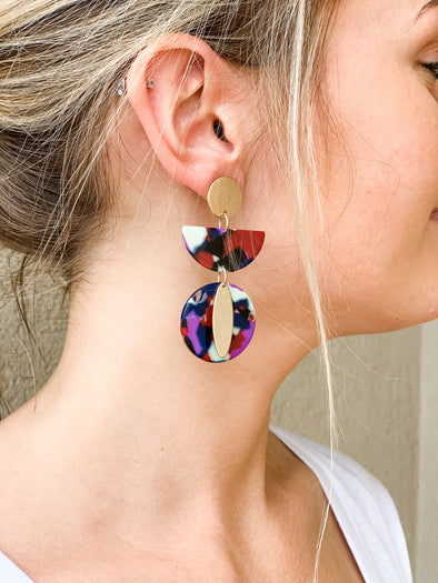 MULTI COLOR TIERED ACRYLIC EARRING WITH GOLD PLATE