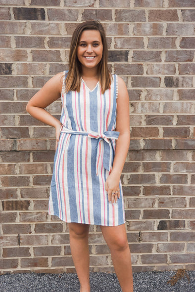 THML STRIPED BELTED DRESS