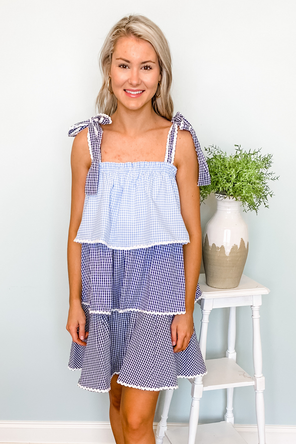 BLUE GINGHAM TIERED DRESS