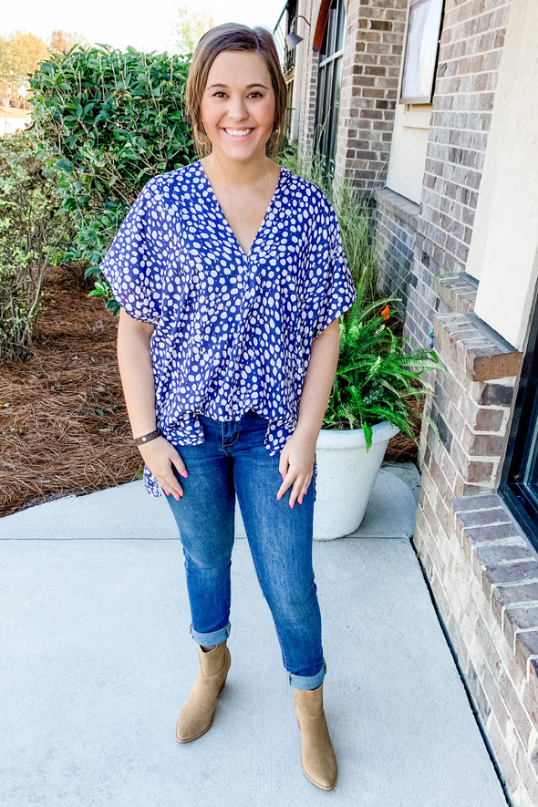 NAVY DOTTED TUNIC