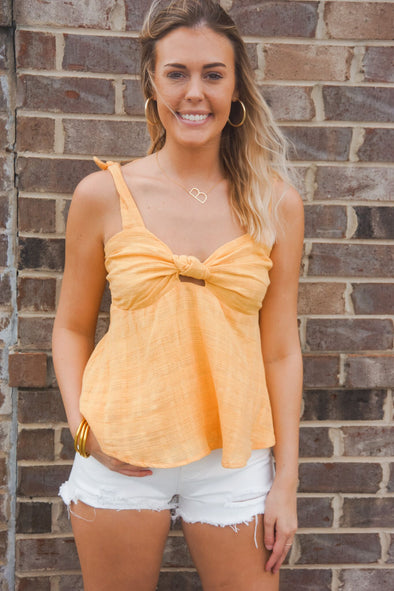 MISS ME SWEETHEART YELLOW KNOT TANK
