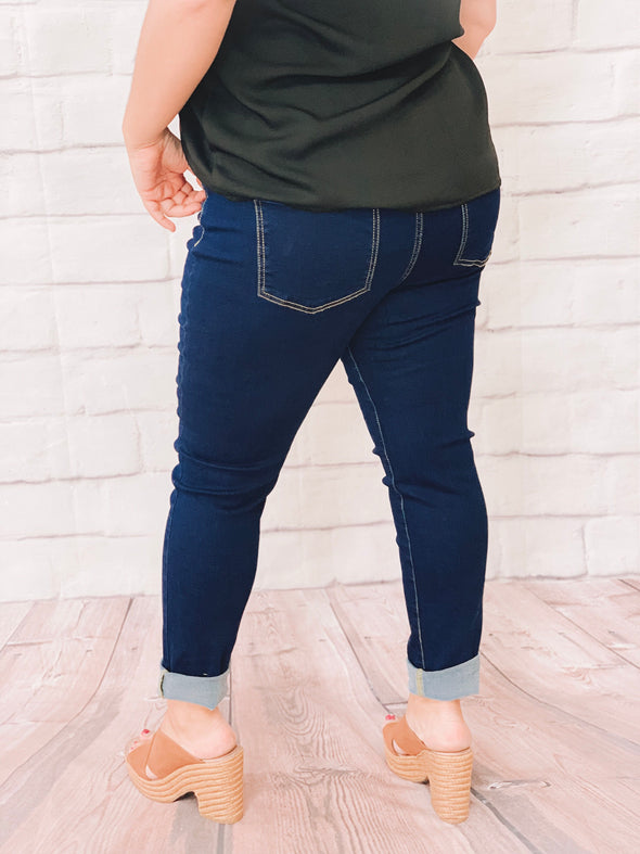 PLUS DARK DENIM PULL ON JEANS