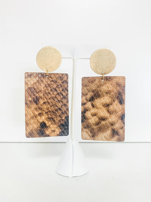 BROWN SNAKE RECTANGLE LEATHER EARRINGS