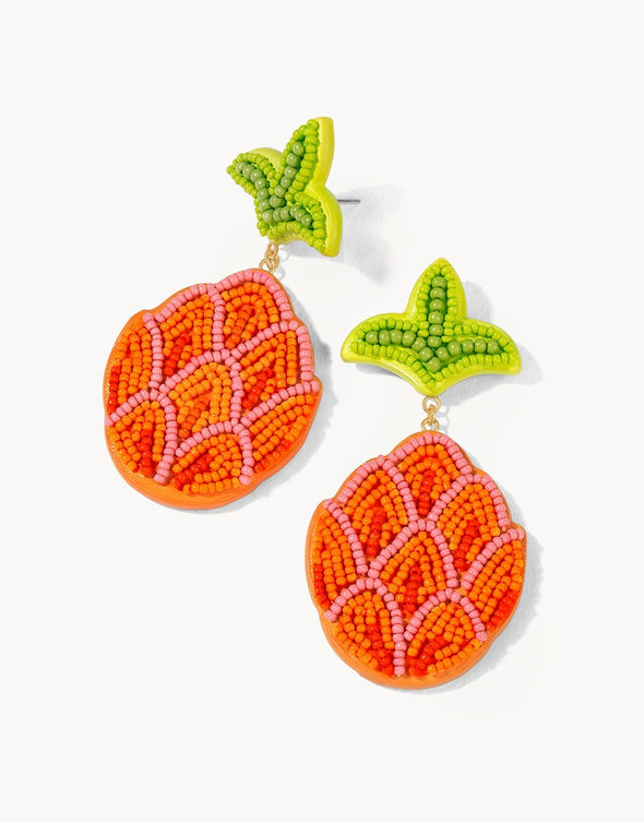 ORANGE PINEAPPLE BEADED EARRINGS