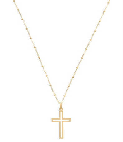 SIMPLICITY CHAIN 2MM BEAD GOLD NECKLACE, TRINITY CROSS CHARM