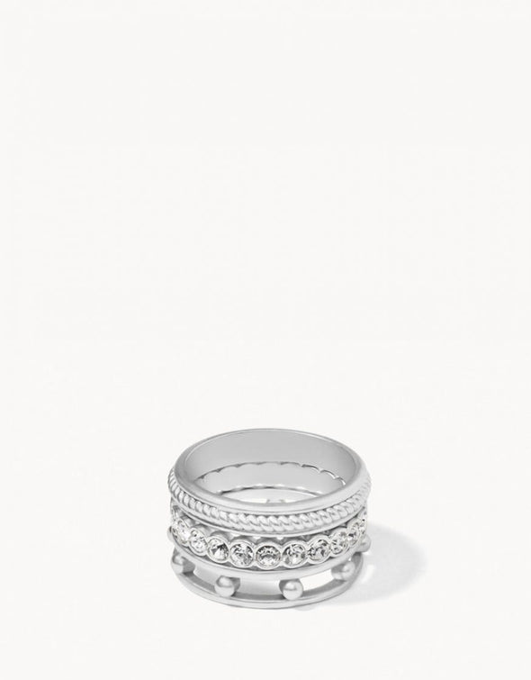 CRYSTAL SILVER HARBOR RING STACK