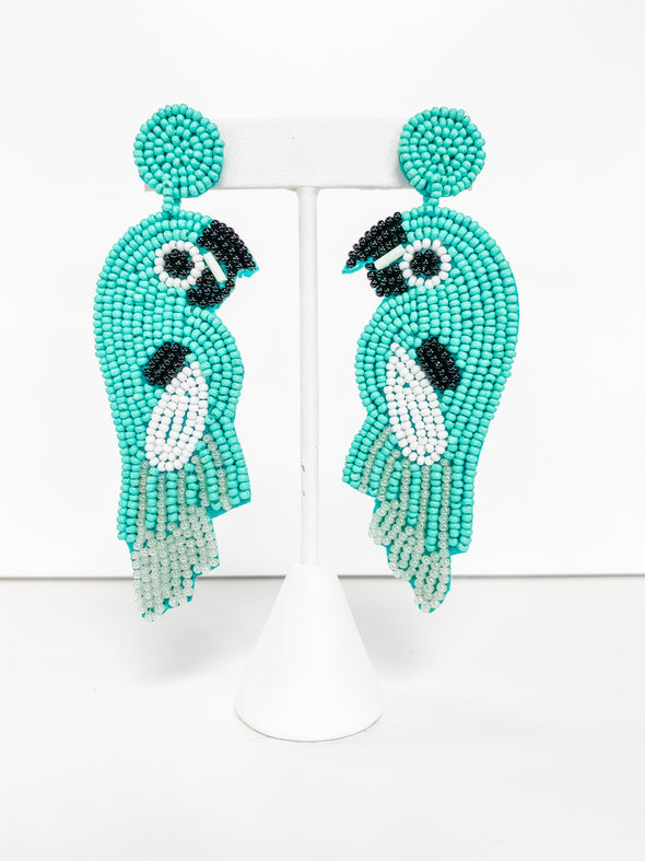 TURQUOISE BEADED PARROT EARRINGS